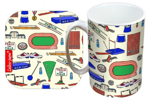 Selina-Jayne Track and Field Limited Edition Designer Mug and Coaster Set